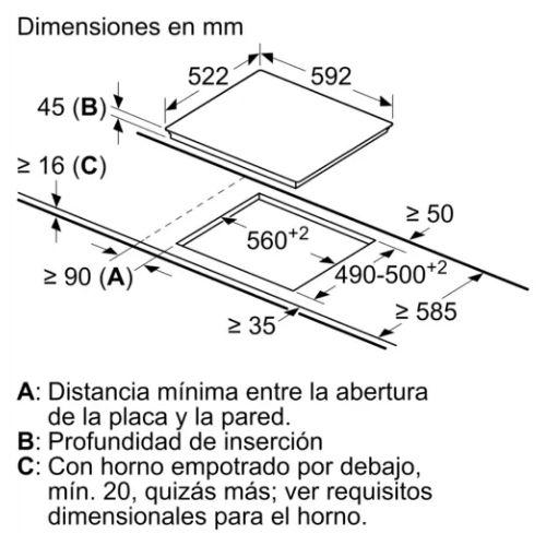 Encimera Placa Vitrocerámica Balay Dimensiones