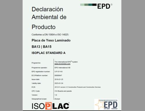 Certificado de Sostenibilidad para la Placa ISOPLAC