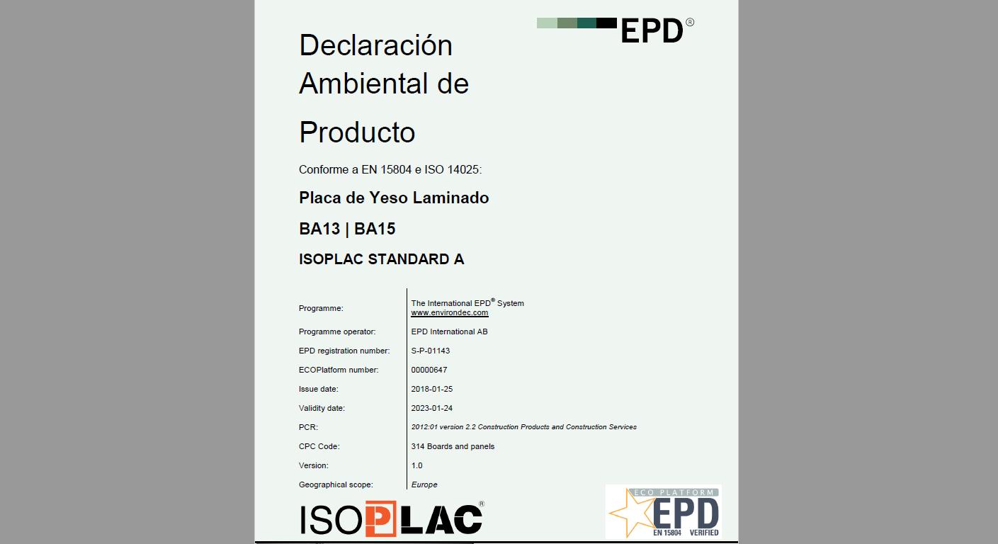 declaración ambiental isoplac
