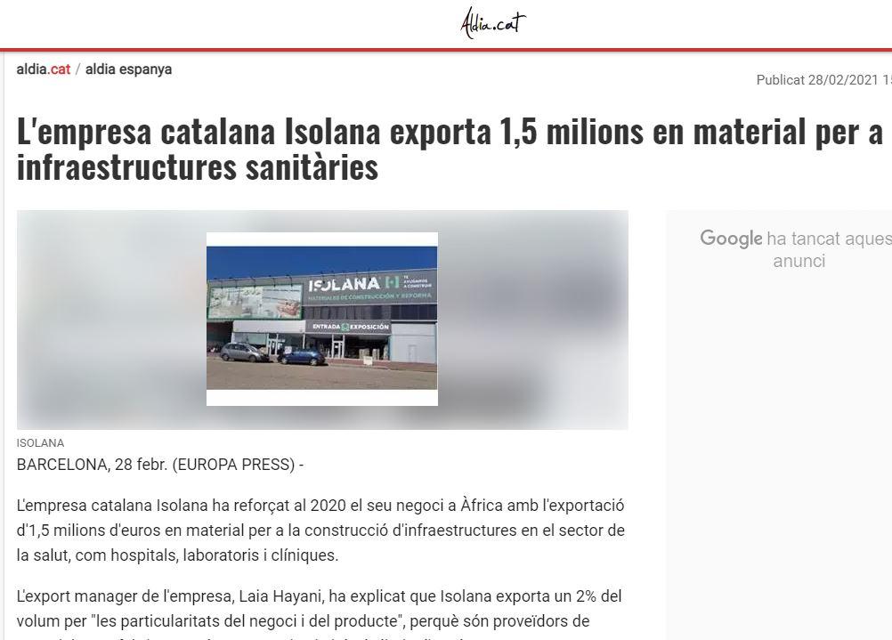 Nota de prensa Isolana Export